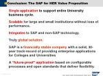 conclusion the sap for her value proposition