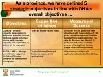 as a province we have defined 5 strategic objectives in line with dha s overall objectives