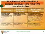 as a province we have defined 5 strategic objectives inline with dha s overall objectives