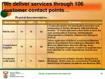 we deliver services through 106 customer contact points20