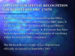 applying for special recognition for registered mrc units