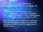 the mission of the medical reserve corps of los angeles is7
