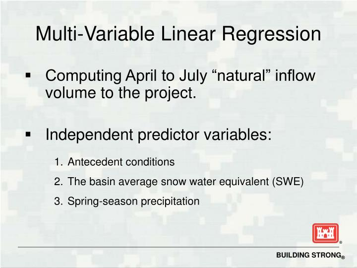 Multi variable linear regression