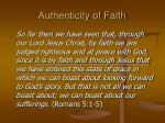 authenticity of faith