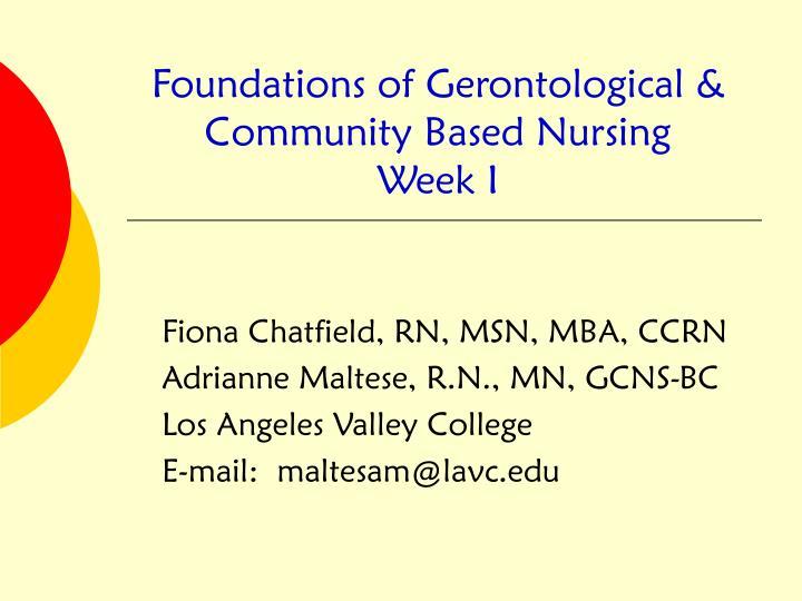 foundations of gerontological community based nursing week i n.