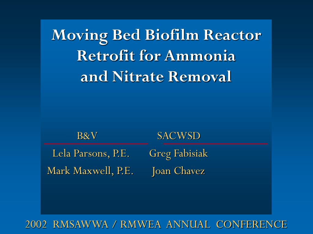 moving bed biofilm reactor retrofit for ammonia and nitrate removal l.
