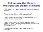 did not use the library undergraduate student comments