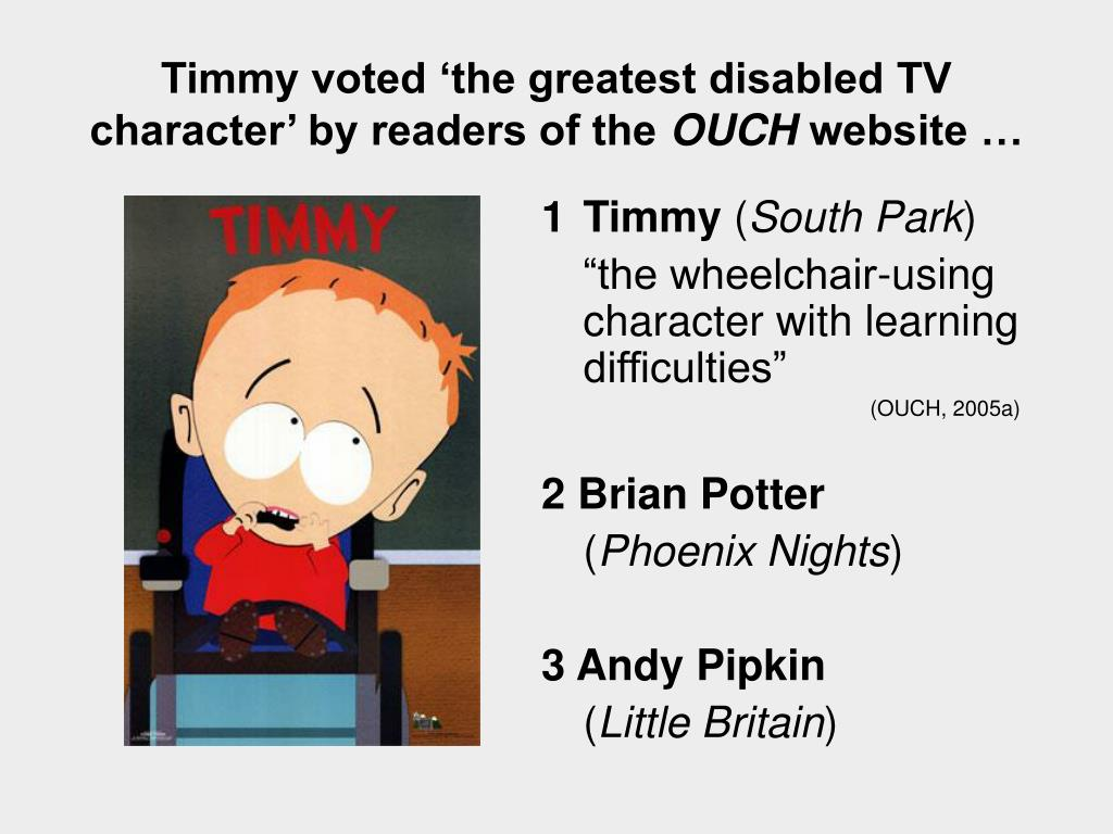 Timmy voted 'the greatest disabled TV character' by readers of the