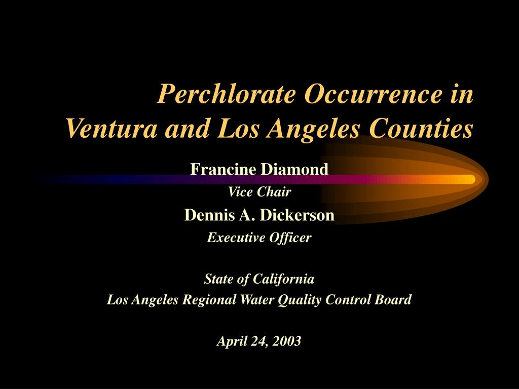 perchlorate occurrence in ventura and los angeles counties l.