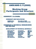 ansi ans 3 11 2000 working group participants and structure