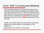 from self to communal solidarity