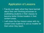 application of lessons