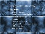 using water efficiently