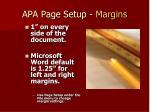 apa page setup margins