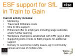 esf support for sfl in train to gain