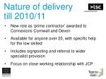 nature of delivery till 2010 11