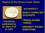 replica of the grave creek tablet19