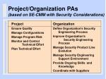project organization pas based on se cmm with security considerations
