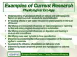 examples of current research physiological ecology
