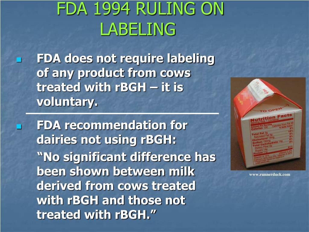 FDA 1994 RULING ON LABELING