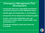 emergency management plan development