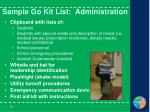 sample go kit list administration