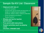 sample go kit list classroom