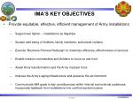 ima s key objectives