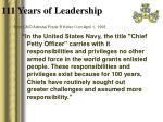 111 years of leadership