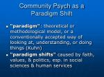 community psych as a paradigm shift