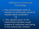 definitions of community psychology