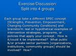 exercise discussion split into 4 groups
