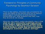 foreword to principles of community psychology by seymour sarason