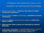 problems with behavior theory and research for community psychology