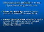 progressive themes in history of psychopathology mh care