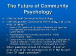the future of community psychology