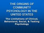 the origins of community psychology in the united states