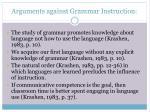 arguments against grammar instruction
