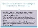 myth grammar structures are meaningless forms larsen freeman 1995