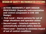 design of safety instrumented systems