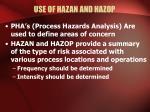 use of hazan and hazop