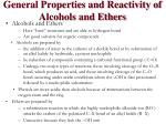 general properties and reactivity of alcohols and ethers