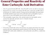 general properties and reactivity of ester carboxylic acid derivatives