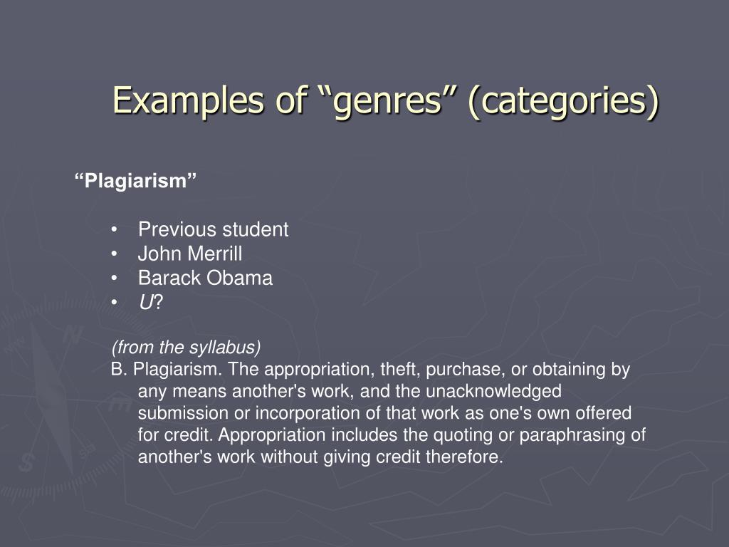 "Examples of ""genres"" (categories)"