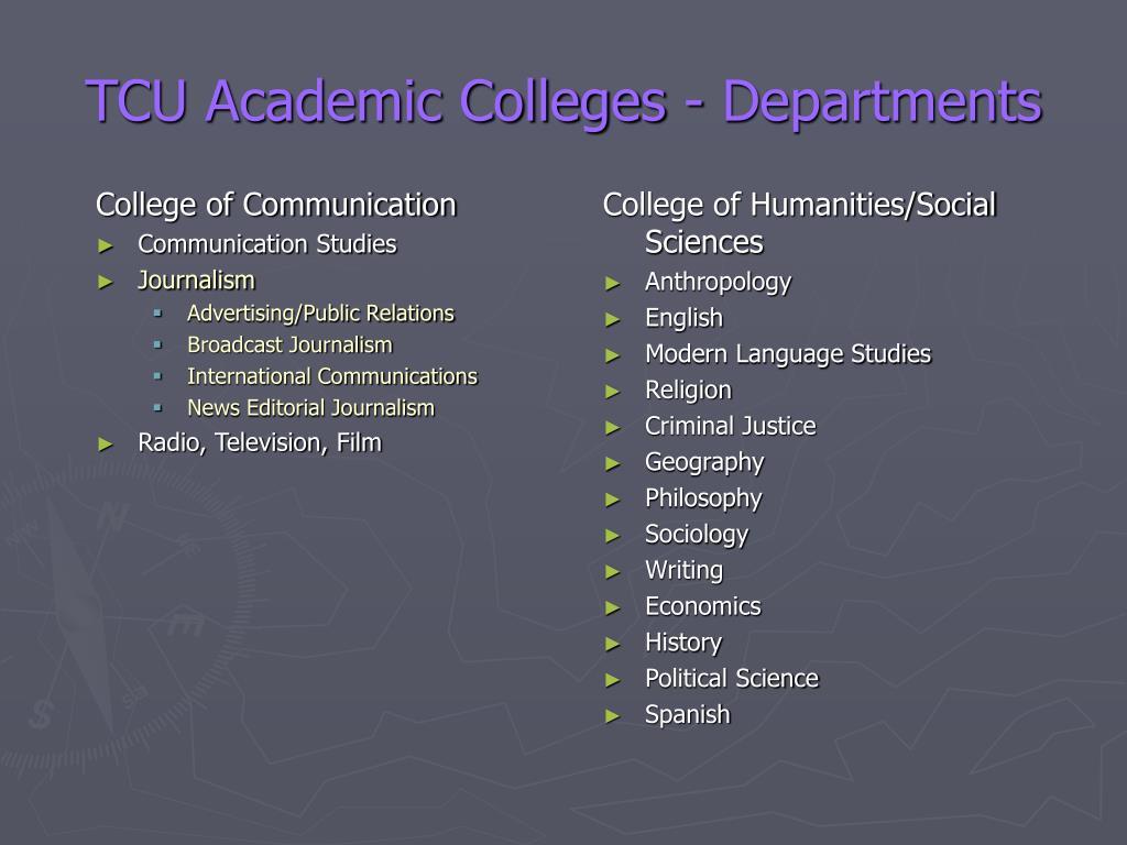 TCU Academic Colleges - Departments