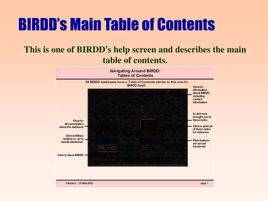 BIRDD's Main Table of Contents