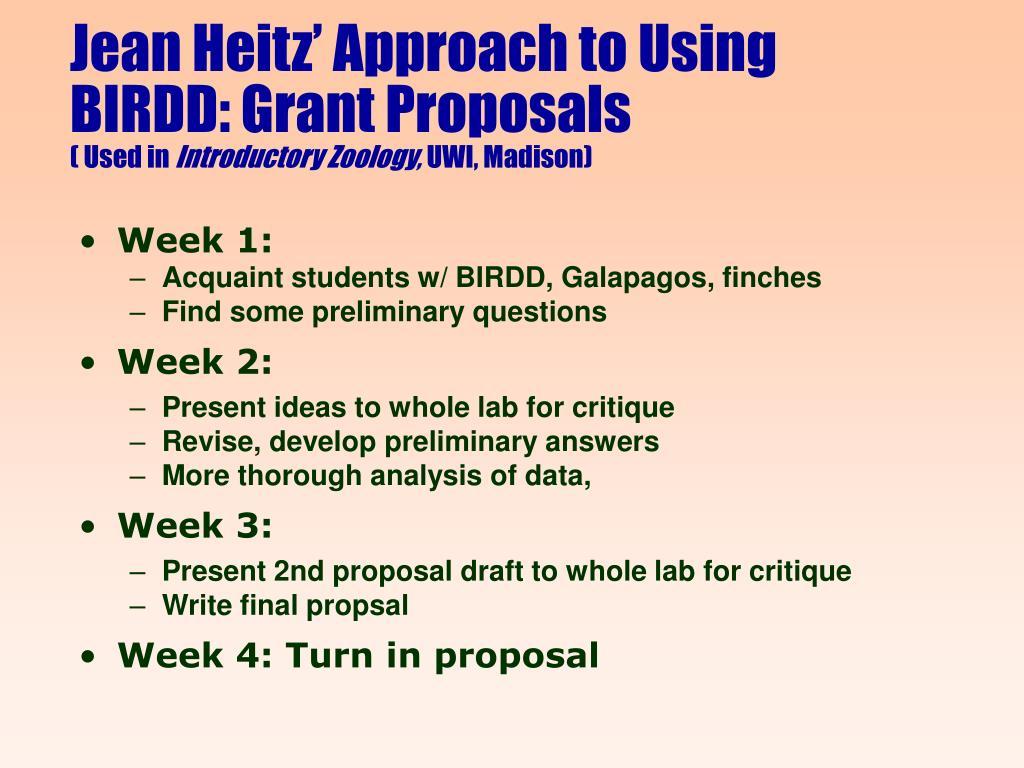 Jean Heitz' Approach to Using BIRDD: Grant Proposals