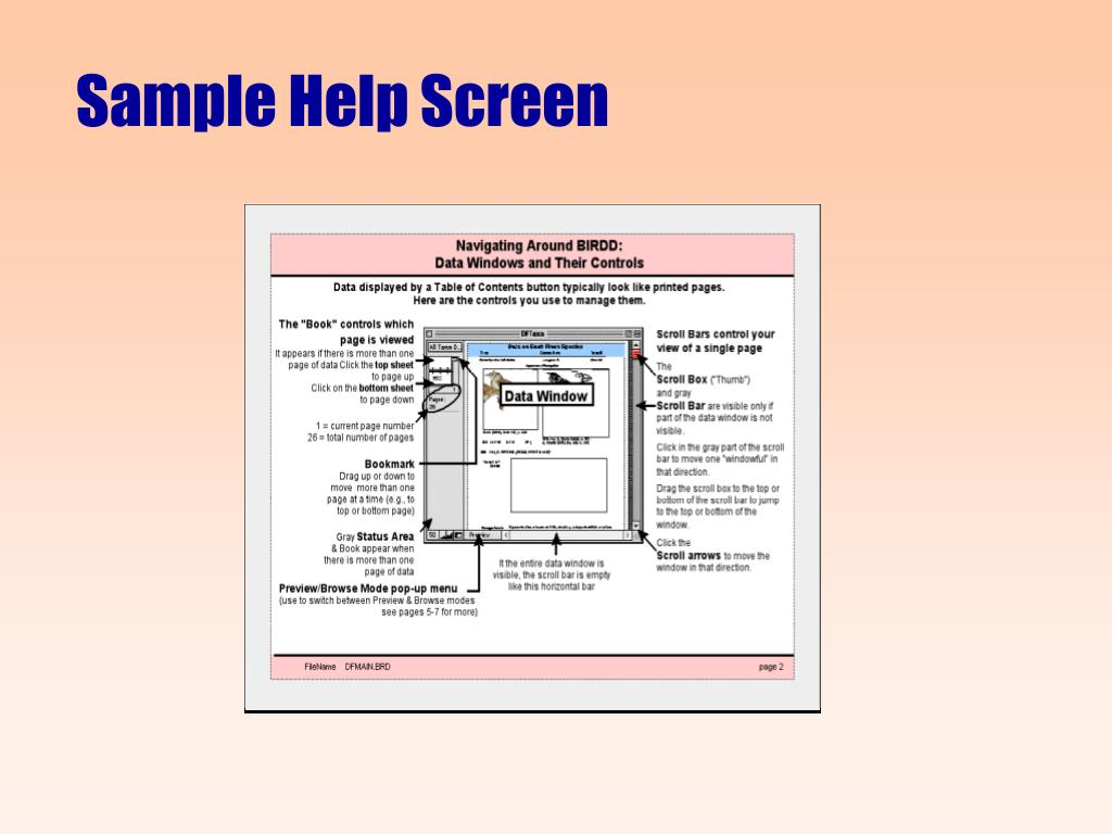 Sample Help Screen