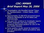 cdc mmwr brief report may 26 2006