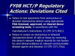 fy08 hct p regulatory actions deviations cited